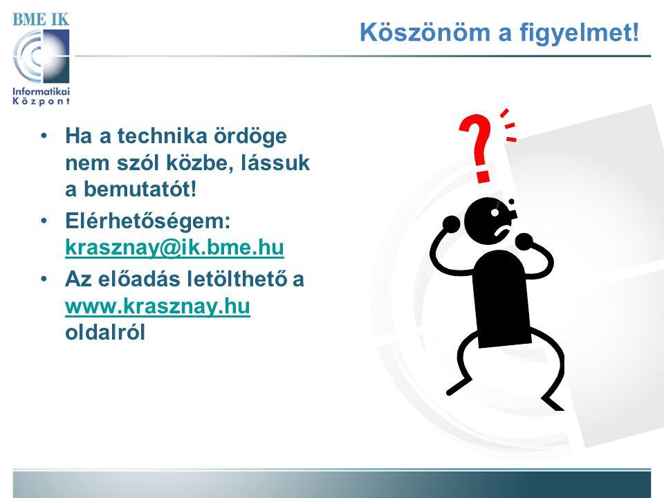 Köszönöm a figyelmet! Ha a technika ördöge nem szól közbe, lássuk a bemutatót! Elérhetőségem: krasznay@ik.bme.hu krasznay@ik.bme.hu Az előadás letölth