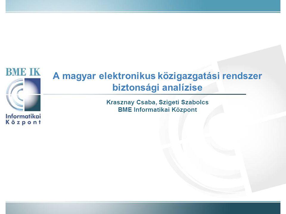 A magyar elektronikus közigazgatási rendszer biztonsági analízise Krasznay Csaba, Szigeti Szabolcs BME Informatikai Központ