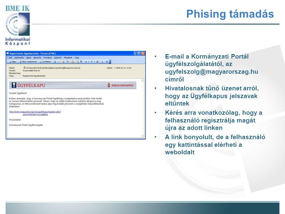 Phising támadás E-mail a Kormányzati Portál ügyfélszolgálatától, az ugyfelszolg@magyarorszag.hu címről Hivatalosnak tűnő üzenet arról, hogy az Ügyfélkapus jelszavak eltűntek Kérés arra vonatkozólag, hogy a felhasználó regisztrálja magát újra az adott linken A link bonyolult, de a felhasználó egy kattintással elérheti a weboldalt