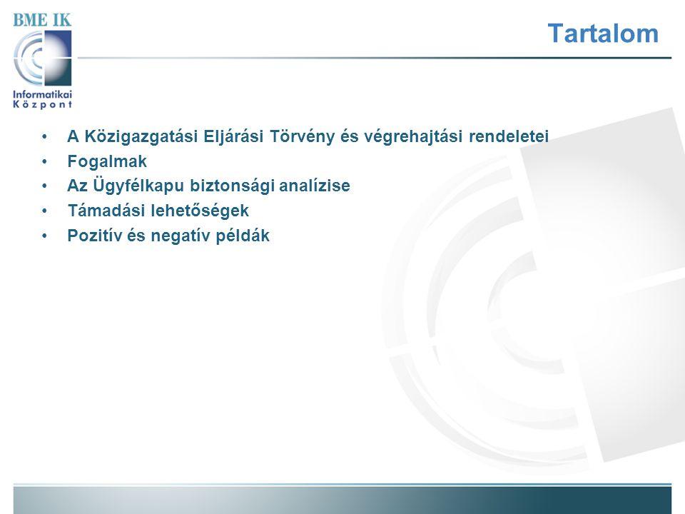 Tartalom A Közigazgatási Eljárási Törvény és végrehajtási rendeletei Fogalmak Az Ügyfélkapu biztonsági analízise Támadási lehetőségek Pozitív és negatív példák