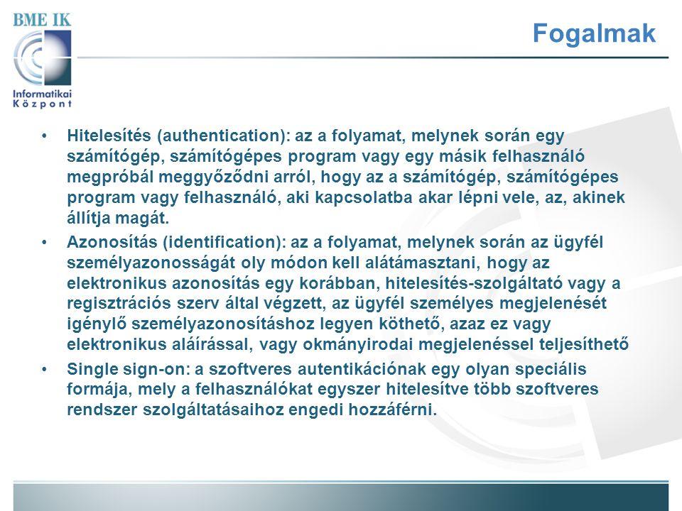 Fogalmak Kétlépcsős hitelesítés (two-factor authentication): olyan protokoll, mely két egymástól független módon állapítja meg a személyazonosságot és a jogosultságokat.