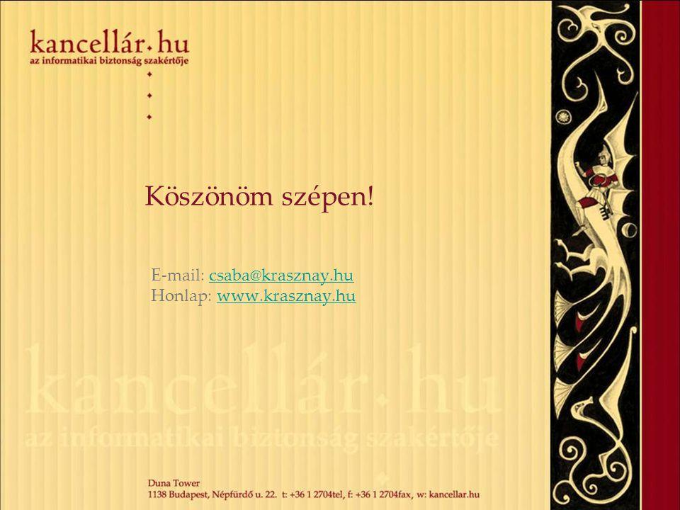 Köszönöm szépen! E-mail: csaba@krasznay.hucsaba@krasznay.hu Honlap: www.krasznay.huwww.krasznay.hu