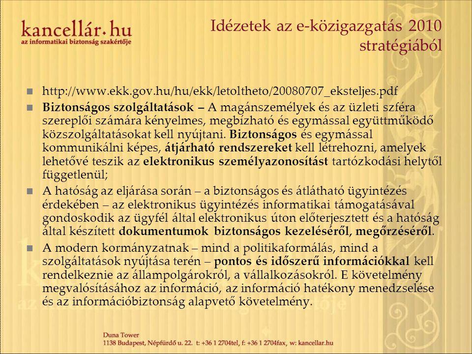 Idézetek az e-közigazgatás 2010 stratégiából http://www.ekk.gov.hu/hu/ekk/letoltheto/20080707_eksteljes.pdf Biztonságos szolgáltatások – A magánszemélyek és az üzleti szféra szereplői számára kényelmes, megbízható és egymással együttműködő közszolgáltatásokat kell nyújtani.