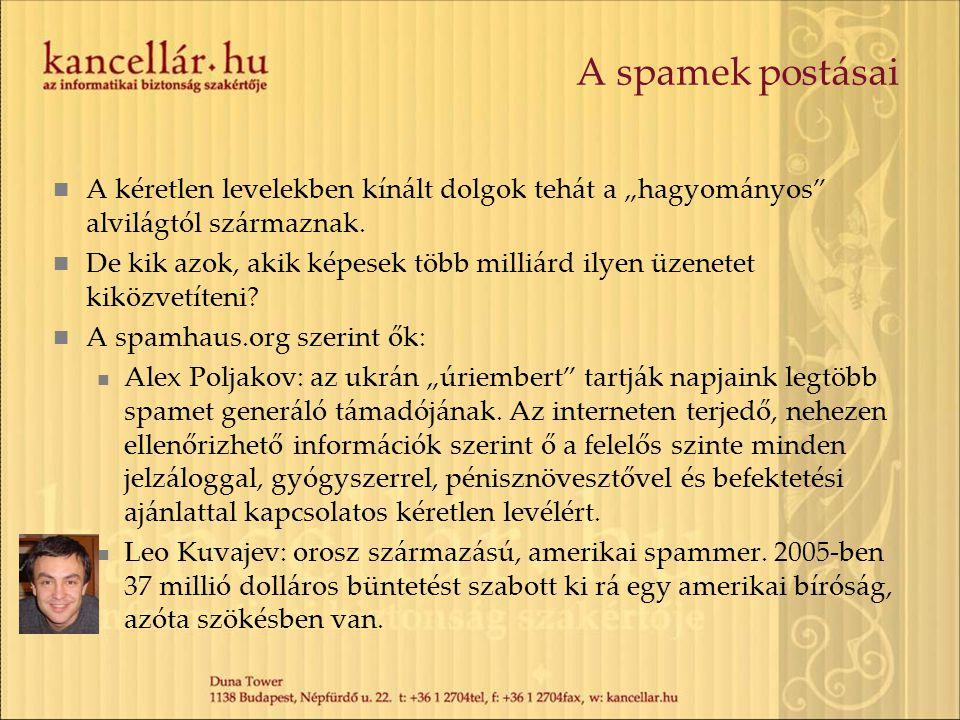 """A spamek postásai A kéretlen levelekben kínált dolgok tehát a """"hagyományos alvilágtól származnak."""