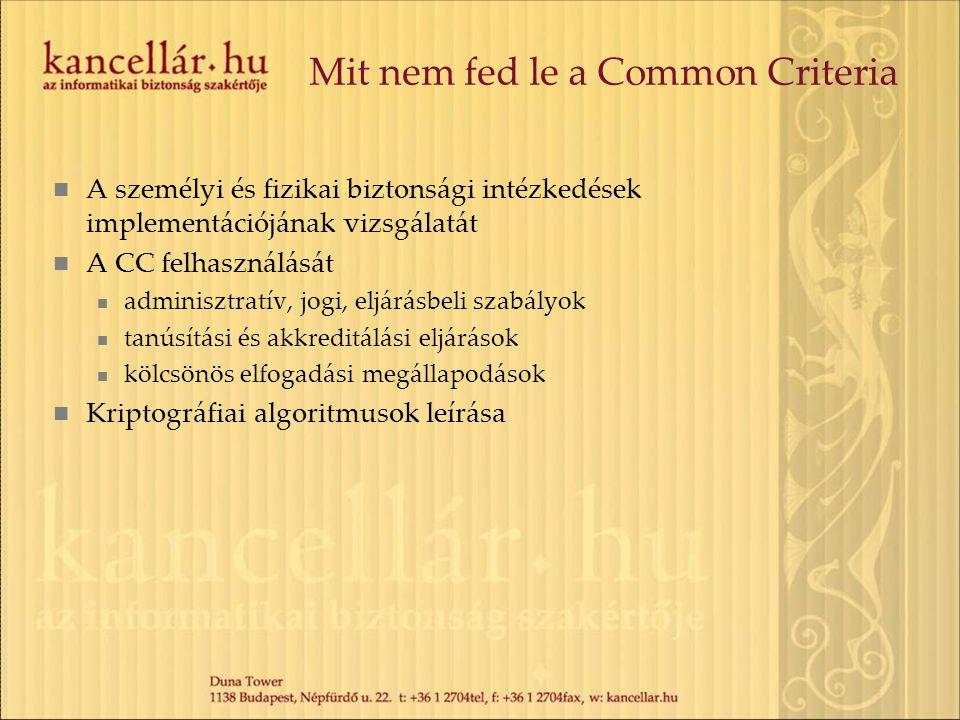 Mit nem fed le a Common Criteria A személyi és fizikai biztonsági intézkedések implementációjának vizsgálatát A CC felhasználását adminisztratív, jogi
