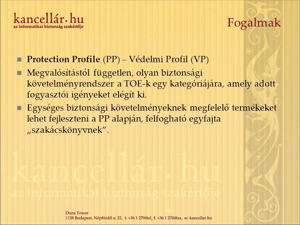 Fogalmak Protection Profile (PP) – Védelmi Profil (VP) Megvalósítástól független, olyan biztonsági követelményrendszer a TOE-k egy kategóriájára, amel