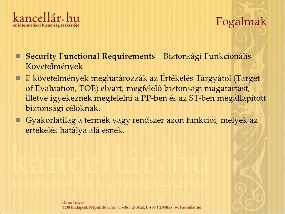 Fogalmak Security Functional Requirements – Biztonsági Funkcionális Követelmények E követelmények meghatározzák az Értékelés Tárgyától (Target of Eval