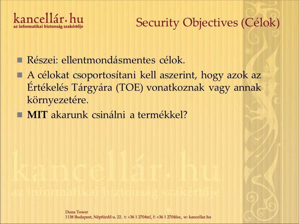 Security Objectives (Célok) Részei: ellentmondásmentes célok. A célokat csoportosítani kell aszerint, hogy azok az Értékelés Tárgyára (TOE) vonatkozna