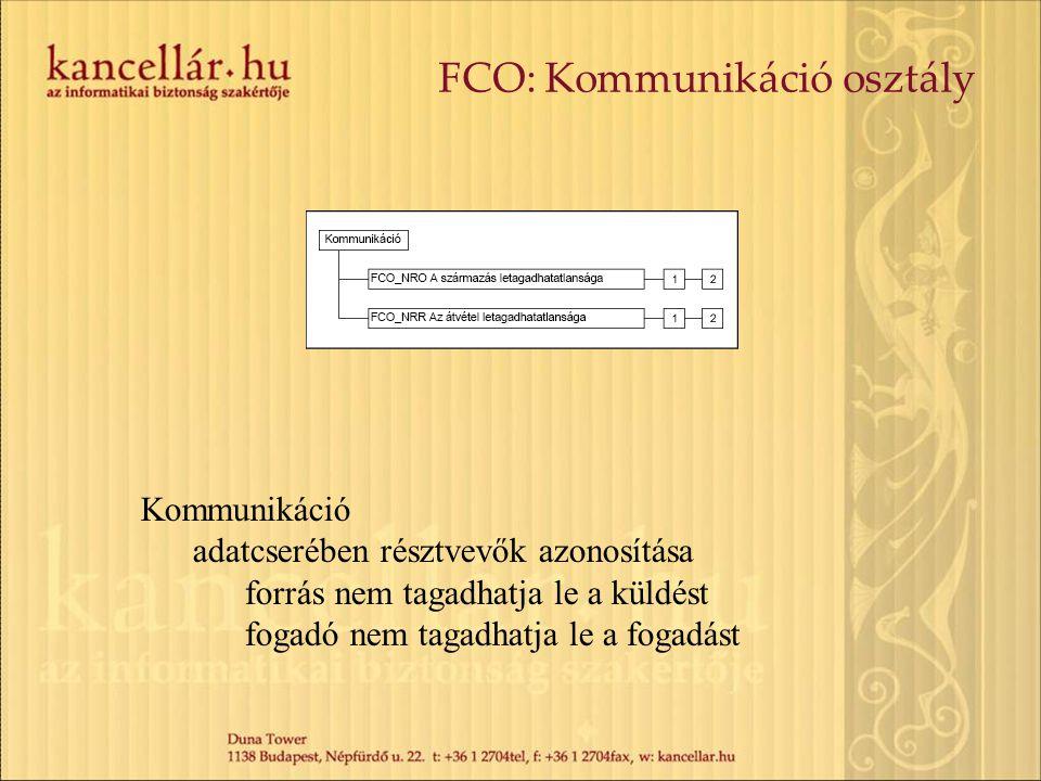 FCO: Kommunikáció osztály Kommunikáció adatcserében résztvevők azonosítása forrás nem tagadhatja le a küldést fogadó nem tagadhatja le a fogadást