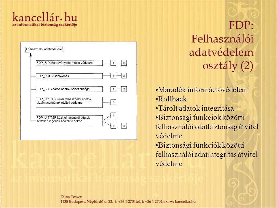 FDP: Felhasználói adatvédelem osztály (2) Maradék információvédelem Rollback Tárolt adatok integritása Biztonsági funkciók közötti felhasználói adatbi