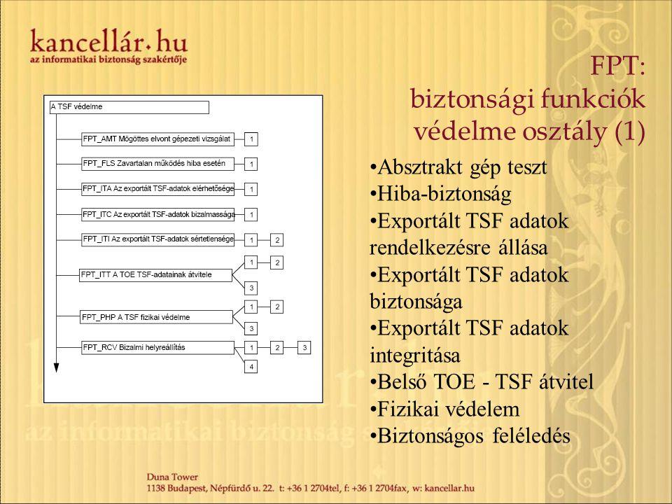 FPT: biztonsági funkciók védelme osztály (1) Absztrakt gép teszt Hiba-biztonság Exportált TSF adatok rendelkezésre állása Exportált TSF adatok biztons