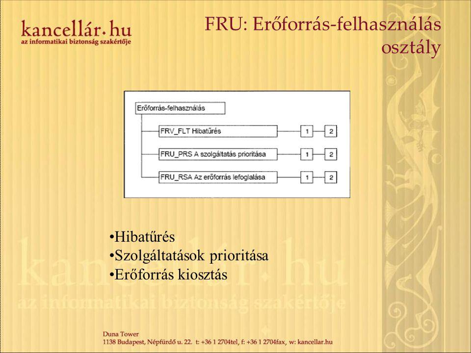 FRU: Erőforrás-felhasználás osztály Hibatűrés Szolgáltatások prioritása Erőforrás kiosztás