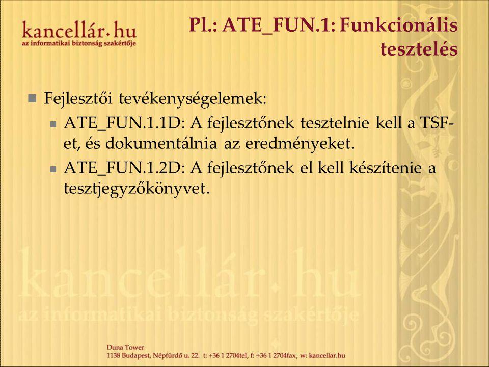 Pl.: ATE_FUN.1: Funkcionális tesztelés Fejlesztői tevékenységelemek: ATE_FUN.1.1D: A fejlesztőnek tesztelnie kell a TSF- et, és dokumentálnia az eredm