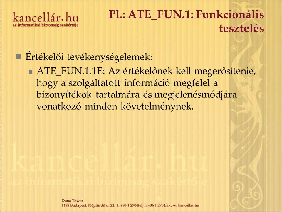 Pl.: ATE_FUN.1: Funkcionális tesztelés Értékelői tevékenységelemek: ATE_FUN.1.1E: Az értékelőnek kell megerősítenie, hogy a szolgáltatott információ m
