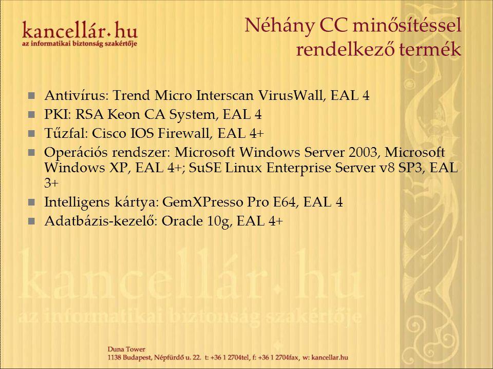 Néhány CC minősítéssel rendelkező termék Antivírus: Trend Micro Interscan VirusWall, EAL 4 PKI: RSA Keon CA System, EAL 4 Tűzfal: Cisco IOS Firewall,