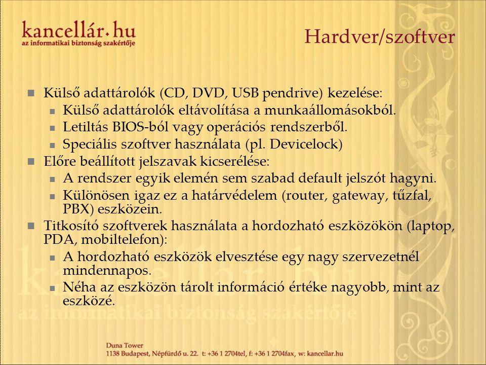 Hardver/szoftver Külső adattárolók (CD, DVD, USB pendrive) kezelése: Külső adattárolók eltávolítása a munkaállomásokból. Letiltás BIOS-ból vagy operác