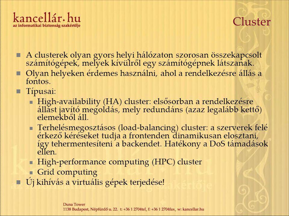Cluster A clusterek olyan gyors helyi hálózaton szorosan összekapcsolt számítógépek, melyek kívülről egy számítógépnek látszanak. Olyan helyeken érdem