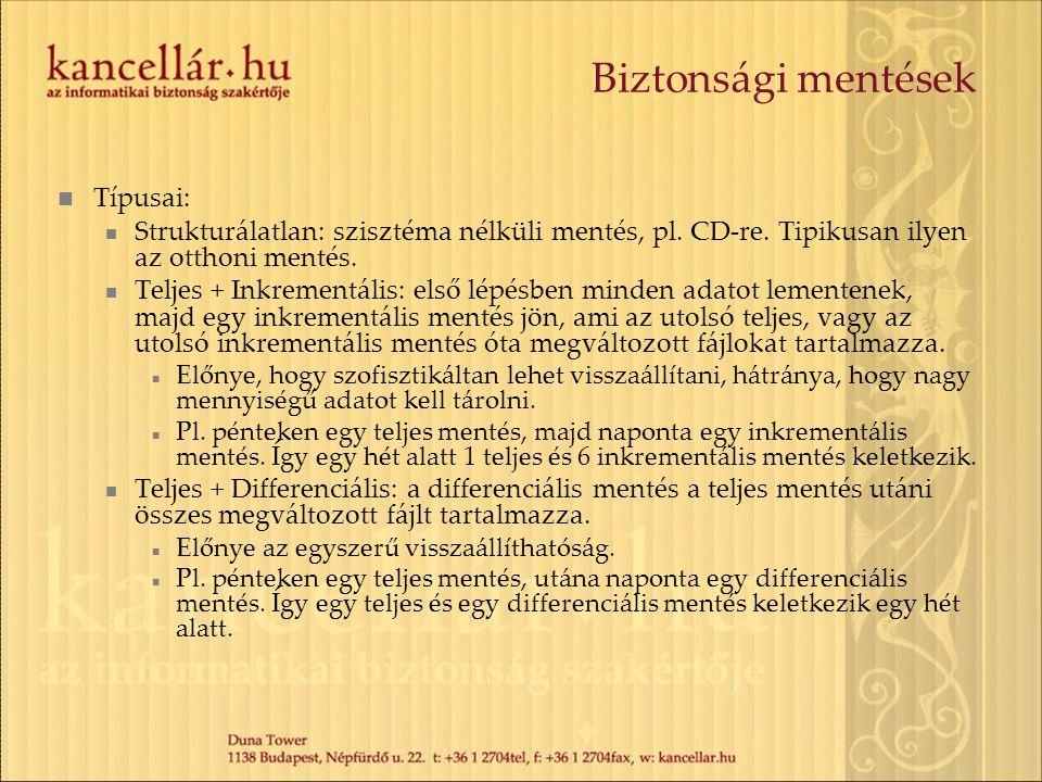 Biztonsági mentések Típusai: Strukturálatlan: szisztéma nélküli mentés, pl.