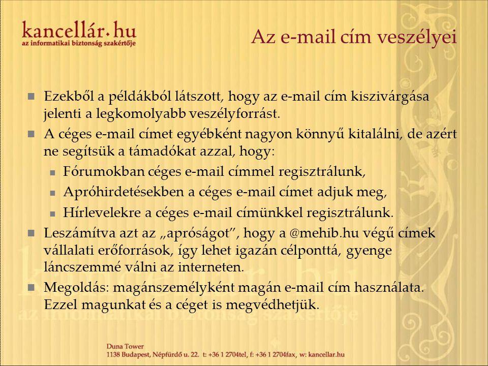 Az e-mail cím veszélyei Ezekből a példákból látszott, hogy az e-mail cím kiszivárgása jelenti a legkomolyabb veszélyforrást. A céges e-mail címet egyé