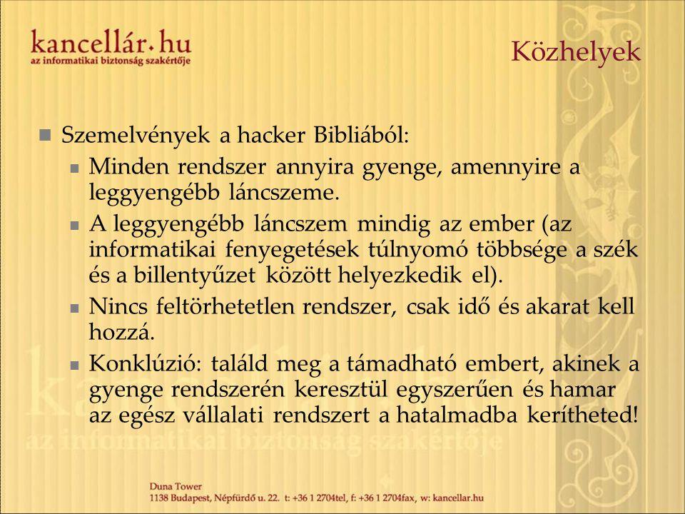 Közhelyek Szemelvények a hacker Bibliából: Minden rendszer annyira gyenge, amennyire a leggyengébb láncszeme. A leggyengébb láncszem mindig az ember (
