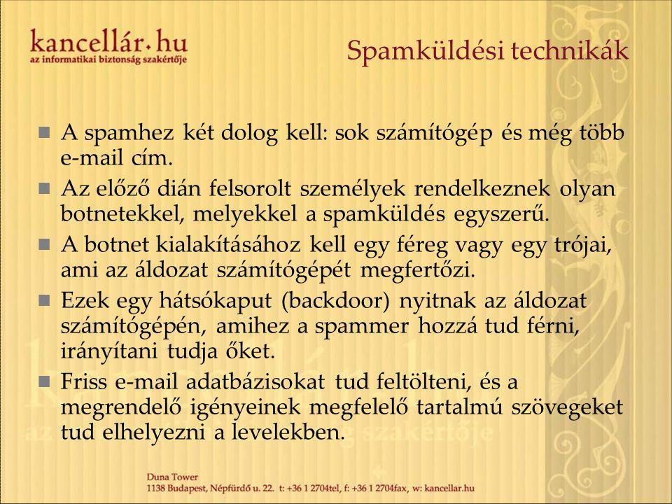 Spamküldési technikák A spamhez két dolog kell: sok számítógép és még több e-mail cím. Az előző dián felsorolt személyek rendelkeznek olyan botnetekke