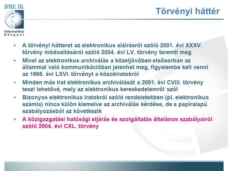 Törvényi háttér A törvényi hátteret az elektronikus aláírásról szóló 2001.