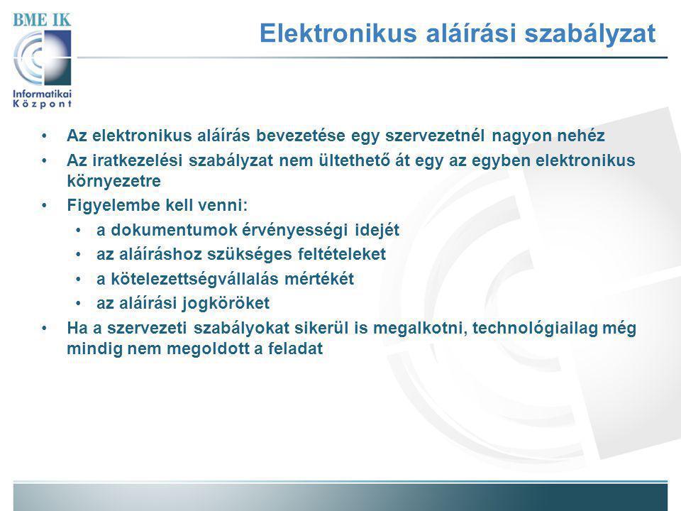 Elektronikus aláírási szabályzat Az elektronikus aláírás bevezetése egy szervezetnél nagyon nehéz Az iratkezelési szabályzat nem ültethető át egy az egyben elektronikus környezetre Figyelembe kell venni: a dokumentumok érvényességi idejét az aláíráshoz szükséges feltételeket a kötelezettségvállalás mértékét az aláírási jogköröket Ha a szervezeti szabályokat sikerül is megalkotni, technológiailag még mindig nem megoldott a feladat