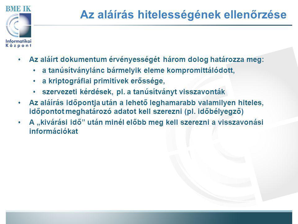 Kivárási idő Aláírás létrehozás ideje Megbízható időpont Visszavonás kérés időpontja A visszavonás kérés feldolgozásának időtartama a HSZ-nél A visszavonás állapot közzétételének időtartama a HSZ-nél Az első visszavonás állapot ellenőrzés Tanúsítvány lánc felépítése és ellenőrzése A második visszavonás állapot ellenőrzés ES-C készítése Tanúsítványok, visszavonási információk tárolása vagy ES-X készítése Kivárási idő