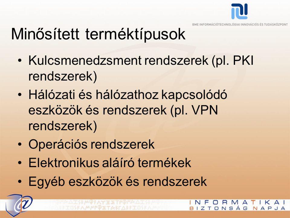 Minősített terméktípusok Kulcsmenedzsment rendszerek (pl.