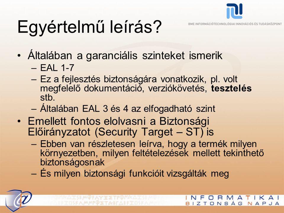 Egyértelmű leírás? Általában a garanciális szinteket ismerik –EAL 1-7 –Ez a fejlesztés biztonságára vonatkozik, pl. volt megfelelő dokumentáció, verzi