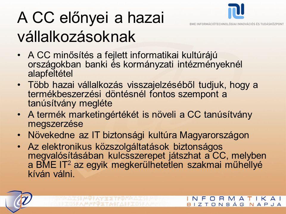 A CC előnyei a hazai vállalkozásoknak A CC minősítés a fejlett informatikai kultúrájú országokban banki és kormányzati intézményeknél alapfeltétel Töb