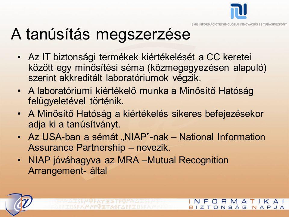A tanúsítás megszerzése Az IT biztonsági termékek kiértékelését a CC keretei között egy minősítési séma (közmegegyezésen alapuló) szerint akkreditált