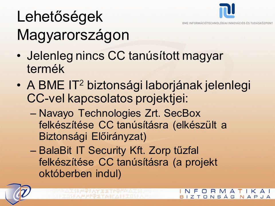 Lehetőségek Magyarországon Jelenleg nincs CC tanúsított magyar termék A BME IT 2 biztonsági laborjának jelenlegi CC-vel kapcsolatos projektjei: –Navay