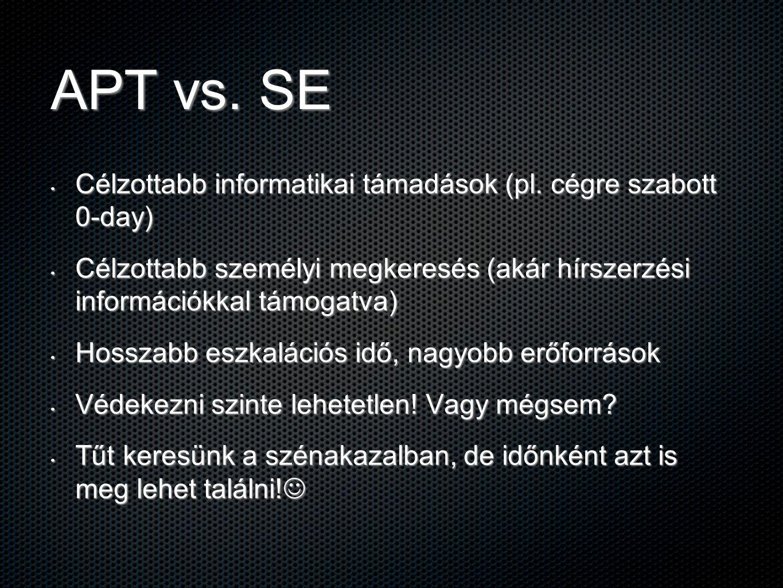 APT vs. SE Célzottabb informatikai támadások (pl. cégre szabott 0-day) Célzottabb informatikai támadások (pl. cégre szabott 0-day) Célzottabb személyi