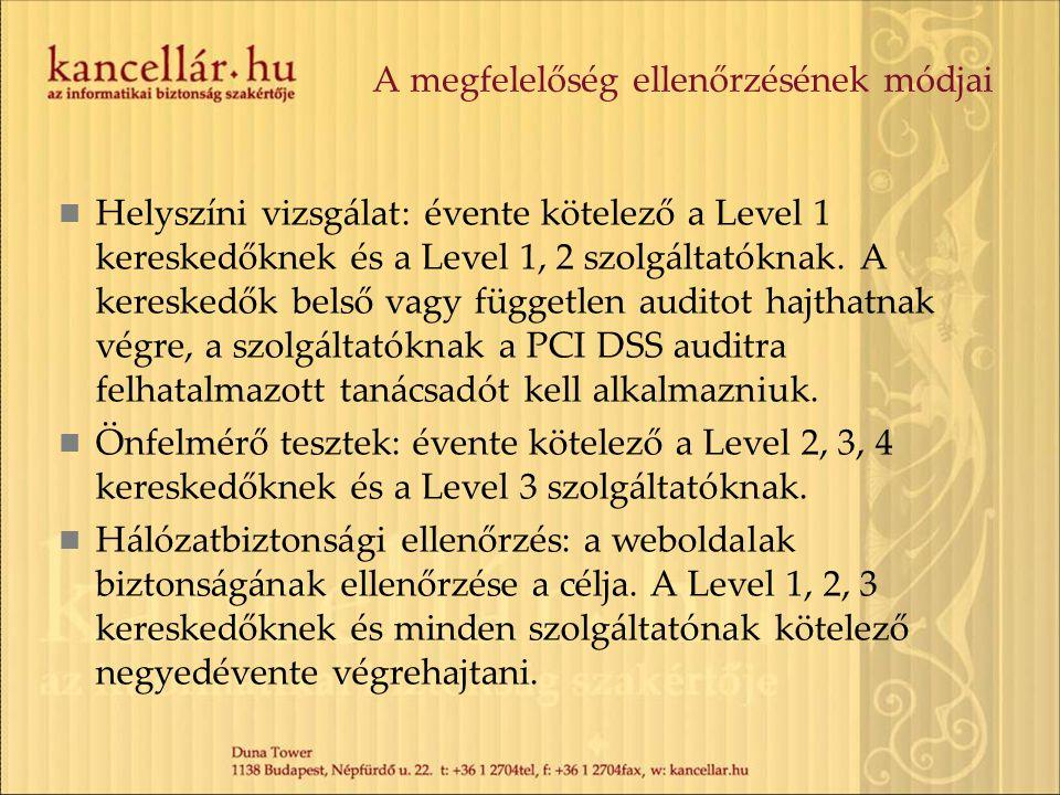 A megfelelőség ellenőrzésének módjai Helyszíni vizsgálat: évente kötelező a Level 1 kereskedőknek és a Level 1, 2 szolgáltatóknak. A kereskedők belső