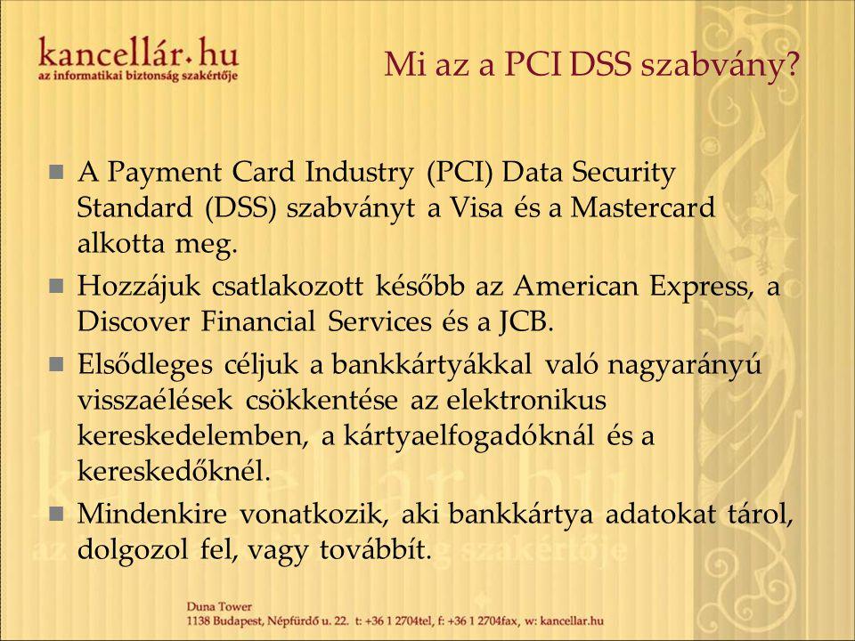 Mi az a PCI DSS szabvány? A Payment Card Industry (PCI) Data Security Standard (DSS) szabványt a Visa és a Mastercard alkotta meg. Hozzájuk csatlakozo