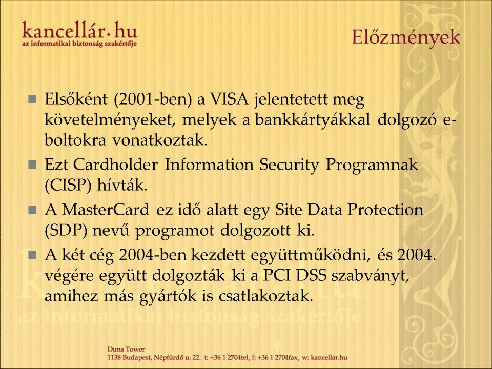 Előzmények Elsőként (2001-ben) a VISA jelentetett meg követelményeket, melyek a bankkártyákkal dolgozó e- boltokra vonatkoztak. Ezt Cardholder Informa