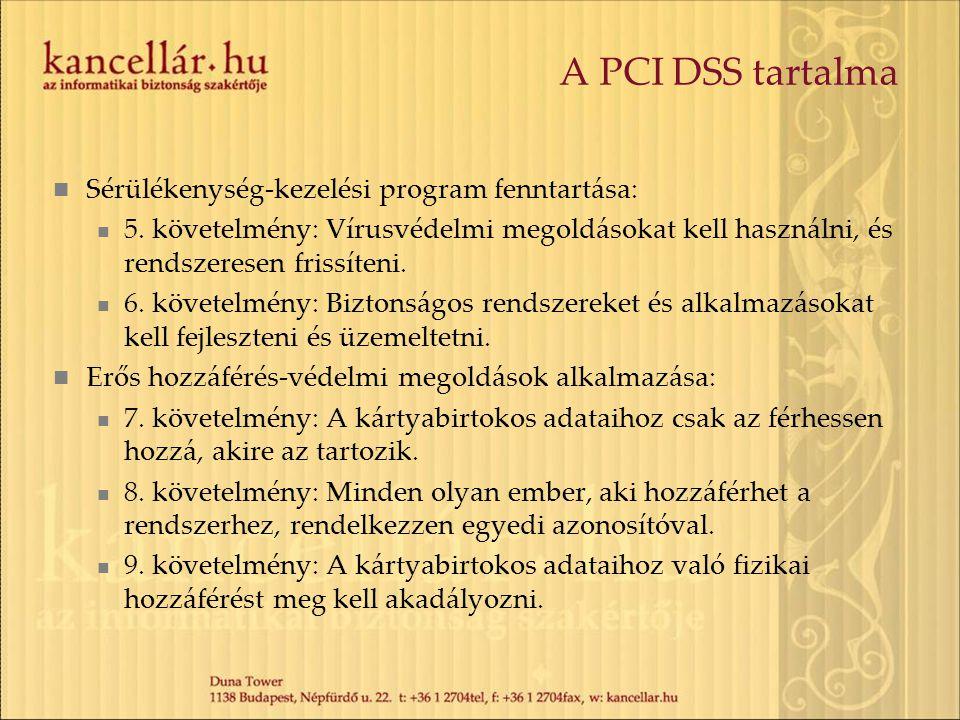 A PCI DSS tartalma Sérülékenység-kezelési program fenntartása: 5. követelmény: Vírusvédelmi megoldásokat kell használni, és rendszeresen frissíteni. 6