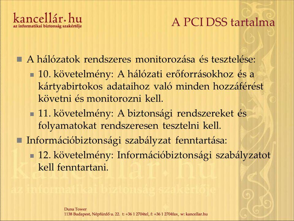 A PCI DSS tartalma A követelménylista nagyon konkrét.
