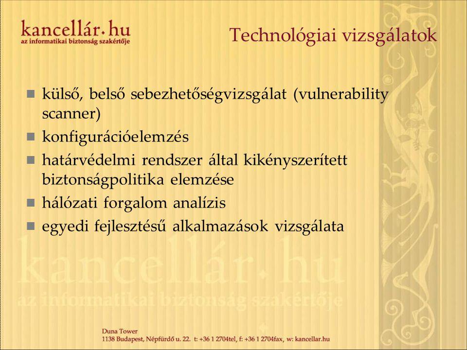 Technológiai vizsgálatok külső, belső sebezhetőségvizsgálat (vulnerability scanner) konfigurációelemzés határvédelmi rendszer által kikényszerített biztonságpolitika elemzése hálózati forgalom analízis egyedi fejlesztésű alkalmazások vizsgálata