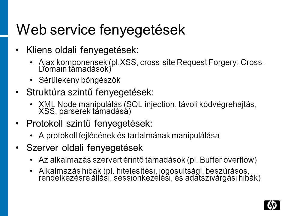 Web service fenyegetések Kliens oldali fenyegetések: Ajax komponensek (pl.XSS, cross-site Request Forgery, Cross- Domain támadások) Sérülékeny böngészők Struktúra szintű fenyegetések: XML Node manipulálás (SQL injection, távoli kódvégrehajtás, XSS, parserek támadása) Protokoll szintű fenyegetések: A protokoll fejlécének és tartalmának manipulálása Szerver oldali fenyegetések Az alkalmazás szervert érintő támadások (pl.
