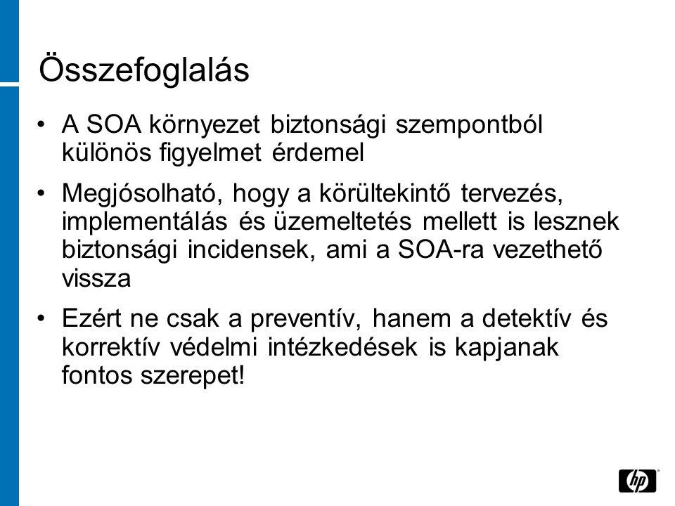 Összefoglalás A SOA környezet biztonsági szempontból különös figyelmet érdemel Megjósolható, hogy a körültekintő tervezés, implementálás és üzemeltetés mellett is lesznek biztonsági incidensek, ami a SOA-ra vezethető vissza Ezért ne csak a preventív, hanem a detektív és korrektív védelmi intézkedések is kapjanak fontos szerepet!