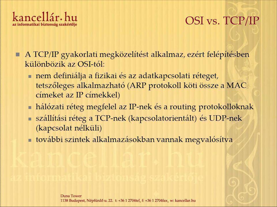 OSI vs. TCP/IP A TCP/IP gyakorlati megközelítést alkalmaz, ezért felépítésben különbözik az OSI-tól: nem definiálja a fizikai és az adatkapcsolati rét