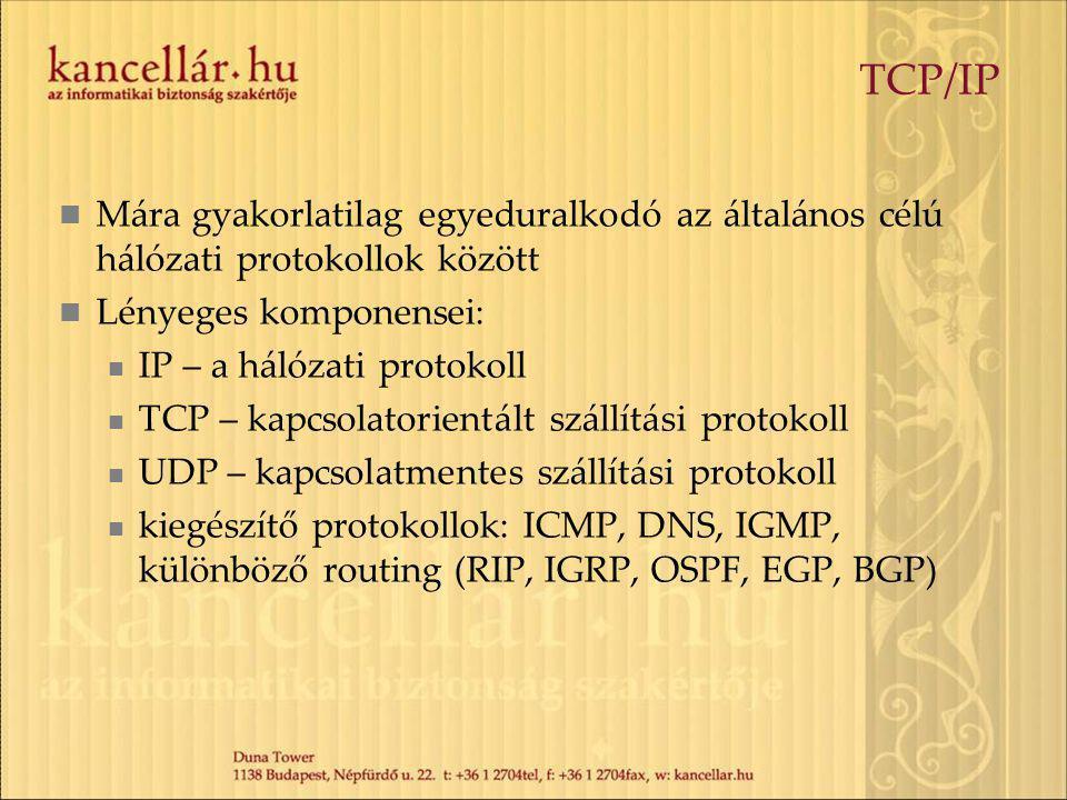 TCP/IP Mára gyakorlatilag egyeduralkodó az általános célú hálózati protokollok között Lényeges komponensei: IP – a hálózati protokoll TCP – kapcsolatorientált szállítási protokoll UDP – kapcsolatmentes szállítási protokoll kiegészítő protokollok: ICMP, DNS, IGMP, különböző routing (RIP, IGRP, OSPF, EGP, BGP)