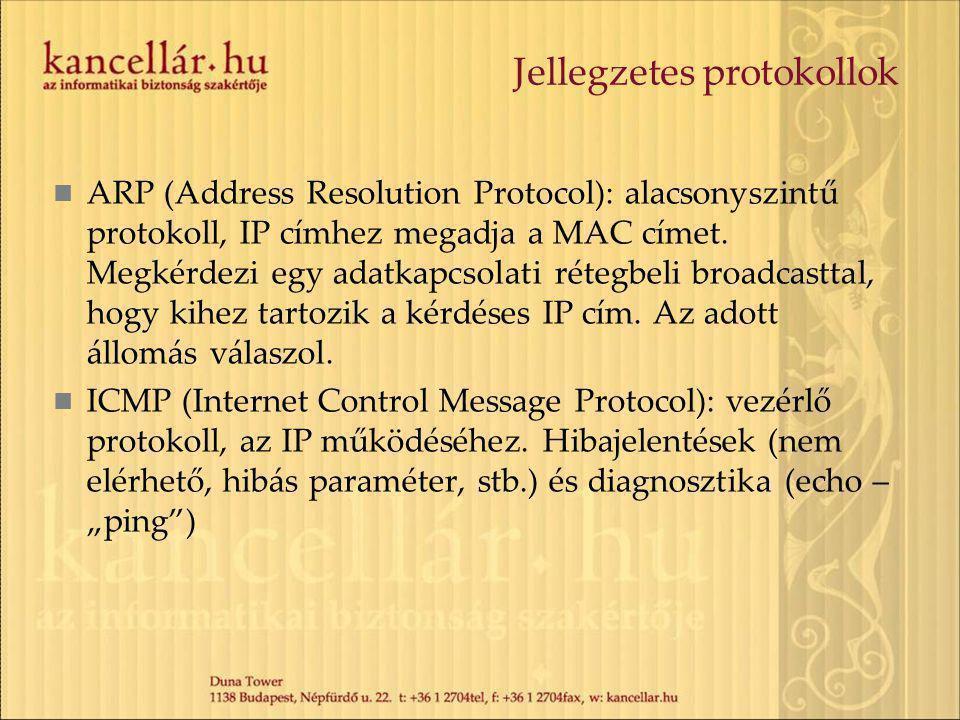 Jellegzetes protokollok ARP (Address Resolution Protocol): alacsonyszintű protokoll, IP címhez megadja a MAC címet.