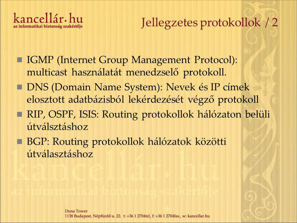 Jellegzetes protokollok / 2 IGMP (Internet Group Management Protocol): multicast használatát menedzselő protokoll. DNS (Domain Name System): Nevek és