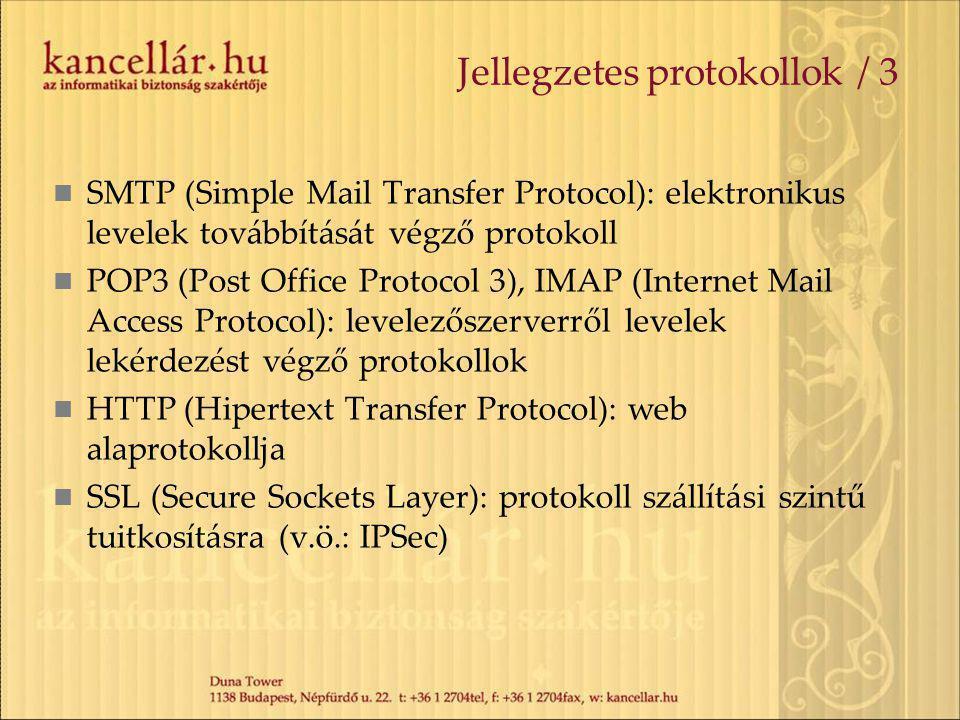 Jellegzetes protokollok / 3 SMTP (Simple Mail Transfer Protocol): elektronikus levelek továbbítását végző protokoll POP3 (Post Office Protocol 3), IMAP (Internet Mail Access Protocol): levelezőszerverről levelek lekérdezést végző protokollok HTTP (Hipertext Transfer Protocol): web alaprotokollja SSL (Secure Sockets Layer): protokoll szállítási szintű tuitkosításra (v.ö.: IPSec)