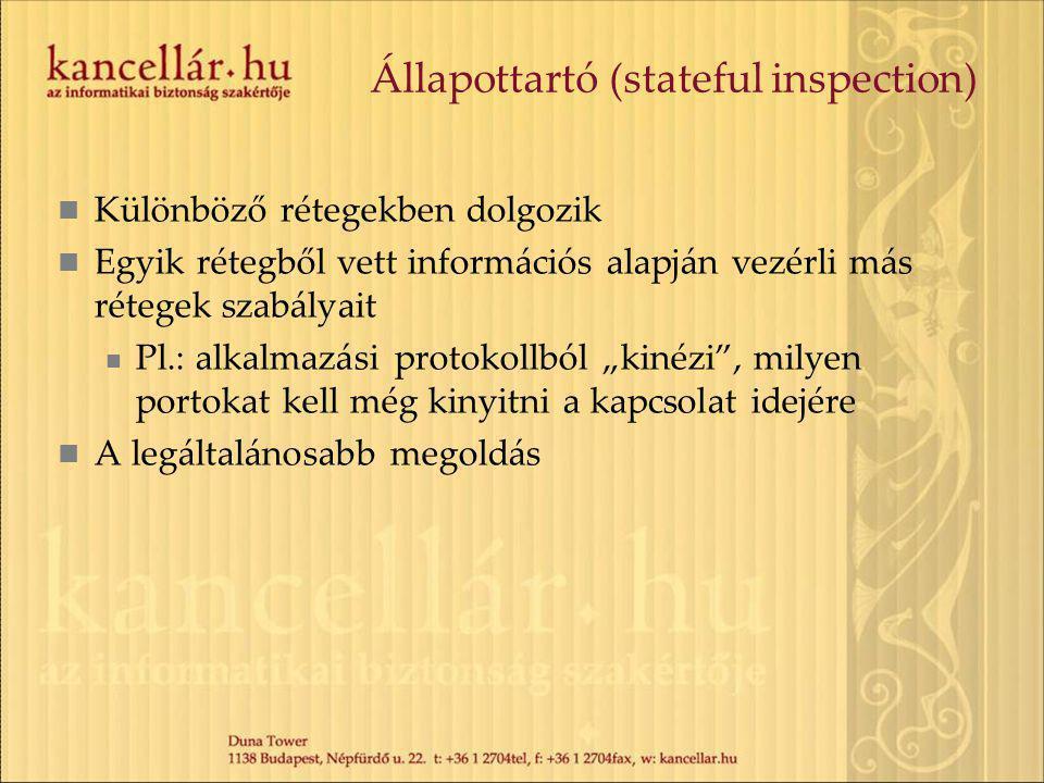 Állapottartó (stateful inspection) Különböző rétegekben dolgozik Egyik rétegből vett információs alapján vezérli más rétegek szabályait Pl.: alkalmazá