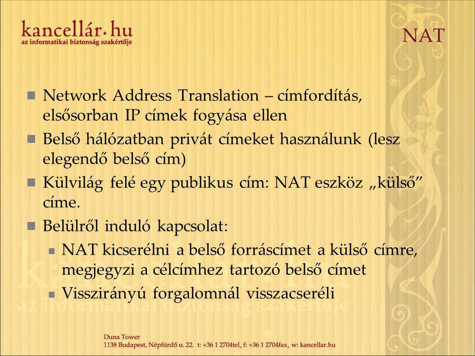 """NAT Network Address Translation – címfordítás, elsősorban IP címek fogyása ellen Belső hálózatban privát címeket használunk (lesz elegendő belső cím) Külvilág felé egy publikus cím: NAT eszköz """"külső címe."""