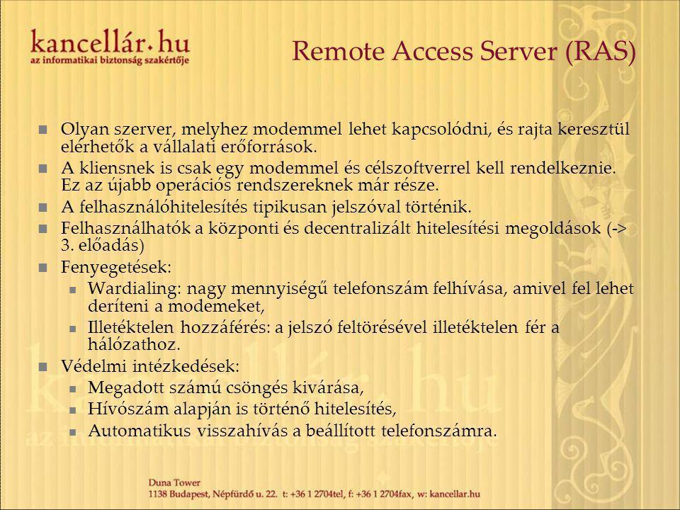 Remote Access Server (RAS) Olyan szerver, melyhez modemmel lehet kapcsolódni, és rajta keresztül elérhetők a vállalati erőforrások.